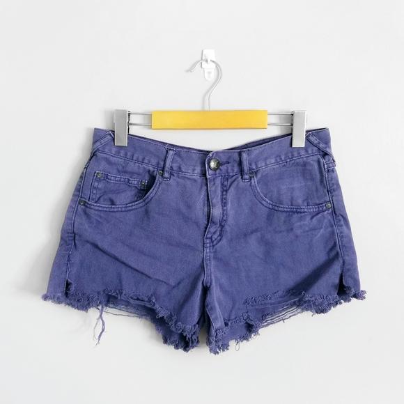 FREE PEOPLE Purple Mid Rise Cutoff Jean Shorts